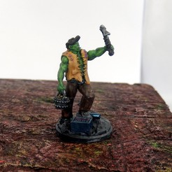 Download free 3D printer files Orc prospector miniature for D&D, MysticPigeonGaming