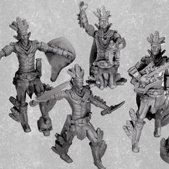 Download 3D printer designs Aztec warriors and bard miniatures, MysticPigeonGaming