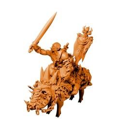 Download 3D printer model War boar + Orc rider (miniature), MysticPigeonGaming