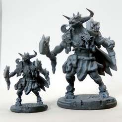 Download 3D printing models Minotaur sun and moon guardian miniature, MysticPigeonGaming