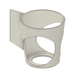 Fusion360_OGnMOl3w4u.png Download free STL file Stick-on cupholder / drink holder for car interior • 3D print model, HavokTheorem