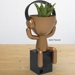 Vaso_Fone ouvido.jpg Download STL file Vaso Robert Plant Fone de Ouvido • 3D print design, samirpasc