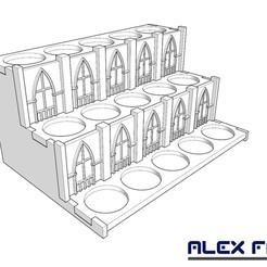 expositor miniaturas 40K 15 x 25 mm.jpg Télécharger fichier STL gratuit Présentoir pour 15 miniatures (trous de 25 mm) • Design à imprimer en 3D, alexfactory