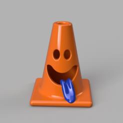 Orange_cone.png Télécharger fichier OBJ Cône de circulation souriant • Plan pour impression 3D, WorldOfPoligons