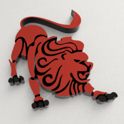 Lion.png Download OBJ file Lion Sign Logo Keychain • 3D printing template, WorldOfPoligons