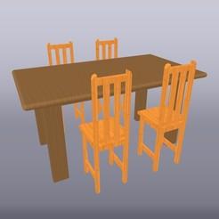 Comedor de madera escala 1-50 2.jpg Download OBJ file Wooden dining room scale 1:50 • Template to 3D print, isak009