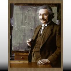 Albert Eintein - relieve Joven 160x206 jpg1.jpg Download STL file Embossed Einstein painting, studying relativity • 3D printing design, isak009