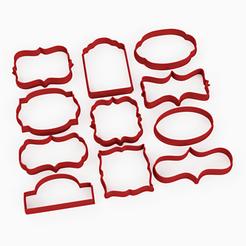 11 marcos top.png Download STL file 11 cookie cutter borders frames ornamentation tag • 3D printer model, Argen3D