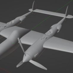Download free 3D printer designs Lockheed P38E Lightning, marcellom