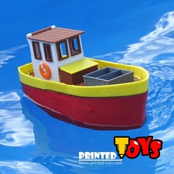 Preview1.jpg Download free STL file Small fishing boat - floating toy for kids • Template to 3D print, Printed-Toys
