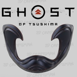 Screen Shot 2020-08-04 at 3.31.52 pm.jpg Download OBJ file Ghost of Tsushima - Fan Art Cosplay Sakai Half Mask 3D Print and Low Poly • 3D printable template, 3DCraftsman