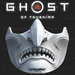 Screen Shot 2020-08-08 at 1.59.50 pm.jpg Download OBJ file GHOST OF TSUSHIMA - Purity of War Fan art cosplay mask 3D print model • 3D print design, 3DCraftsman