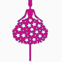 topperchicaestrella.png Download STL file silhouette topper with dress • 3D print design, 3dcookiecutter