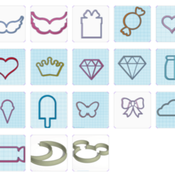 varios.png Download STL file collection of shapes for pastries • 3D print object, 3dcookiecutter