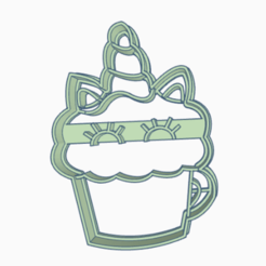 heladouni2.png Download STL file cookie-cutter unicorn ice cream • Design to 3D print, 3dcookiecutter