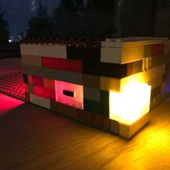 Download free 3D printer designs Illuminated LEGO Bricks with LED and switch, flyinggorilla