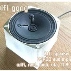 gongtitle.jpg Download free STL file Wifi Doorbell Gong Audio Player in 3W speaker box, REST interface and ESP32 microcontroller • Template to 3D print, flyinggorilla