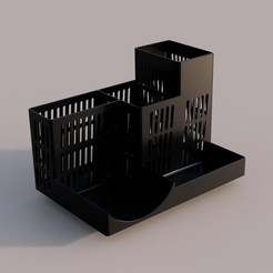 Desk_organizer_v1.jpg Download STL file Desktop organizer,  pen holder with space for post-it blocks • 3D printable template, ronnyg80
