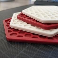 coaster1.jpg Télécharger fichier STL Dessous de verre en nid d'abeille • Plan imprimable en 3D, lafi