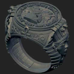 ER1.PNG Download OBJ file MEN VINTAGE EGYPT PHARAOH ANUBIS TITANIUM STEEL FINGER RING Part II • 3D printable design, VNJewelryDesigner