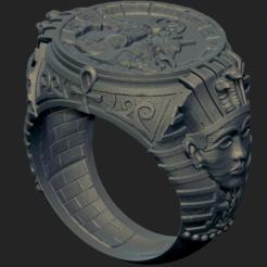 Download OBJ file Men Vintage Egypt Pharaoh Anubis Titanium Steel Finger Ring  • 3D printing design, VNJewelryDesigner