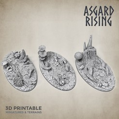 Oval_bases_asgard_rising.jpg Download STL file 3 x Oval 35x60mm Bases FOREST Theme • Design to 3D print, AsgardRising3D