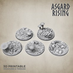 Base_round_forest_30_asgard_rising.jpg Download STL file 5 x Round Bases 30mm FOREST Theme • 3D printing model, AsgardRising3D