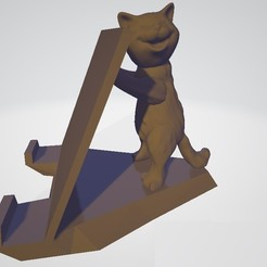 Gato.jpg Download STL file Happy Cat Smartphone Support • 3D printing template, robotekmania