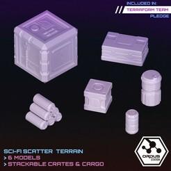 Crates.jpg Download STL file Crates & Cargo • Model to 3D print, SaucermenStudios