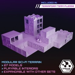 Interiors upgrades 1.jpg Download STL file Ordus Station - Modular Scifi Interiors (Structure Upgrade Set)  • 3D printable model, SaucermenStudios
