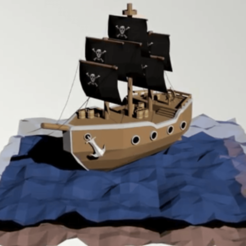 Download 3D printer model low poly ship, khoryogesh