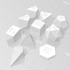 Set Vertical Including D2 D4C D4D.jpg Download STL file Polyset Dice (Sharp Edges) - Sci-Fi Font - D2, D4 Crystal, D4 Droplet Crystal, D4, D6, D8, D10, D% Horizontal, D% Vertical, D12 and D20 • Design to 3D print, verasartsanddice