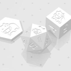 D2 D6 D20 - Cartoon Cow.jpg Download STL file D2, D6 and D20 - Cute Cartoon Cow Symbol Logo • 3D print design, verasartsanddice