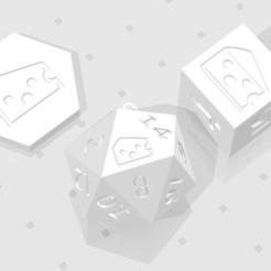 D2 D6 D20 - Baffled Cheese.jpg Télécharger fichier STL D2, D6 et D20 - Logo du symbole du fromage à pâte filée • Design pour impression 3D, verasartsanddice