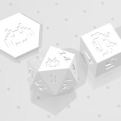 D2 D6 D20 - Space Invaders.jpg Télécharger fichier STL D2, D6 et D20 - Logo du symbole extraterrestre Space Invaders • Plan pour imprimante 3D, verasartsanddice