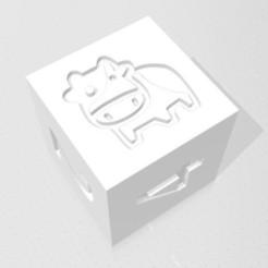 D6 - Cartoon Cow.jpg Download STL file D6 Cute Cartoon Cow Symbol Logo • 3D printing object, verasartsanddice
