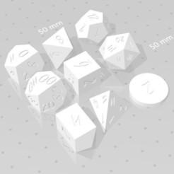 Polyset Horizontal.jpg Download STL file POLYSET DICE (SHARP EDGES) - SCRIBBLE FONT - D2, D4 CRYSTAL, D4, D6, D8, D10, D% HORIZONTAL, D% VERTICAL, D12 AND D20 • 3D printer object, verasartsanddice