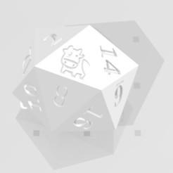 D20 - Cartoon Cow.jpg Download STL file D20 Cute Cartoon Cow Logo Symbol • 3D printer model, verasartsanddice