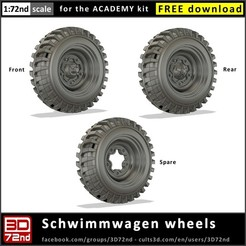 c3d_3d72nd_72_typ166_cover.jpg Download free STL file 3D72ND - 1/72ND SCALE SCHWIMMWAGEN WHEELS • Model to 3D print, 3D72nd