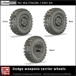 c3d_3d72nd_72_dodge_wc51_cover.jpg Download STL file 3D72ND - 1/72ND SCALE DODGE WC51 WHEELS • 3D printer model, 3D72nd