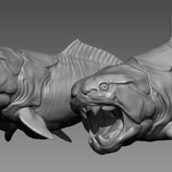 Télécharger STL Dunkleosteus - Créature préhistorique imprimable en 3D - Modèle imprimé en 3D 3 Poses, DCA-tabletop