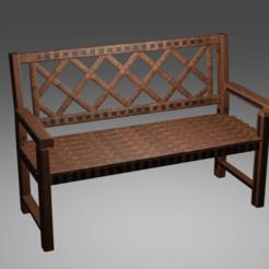 bench long.png Télécharger fichier STL Banc 3D • Plan à imprimer en 3D, blender382