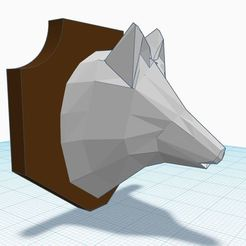 asd.JPG Download STL file Low poly Wolf head trophy • Template to 3D print, Aboutexodma