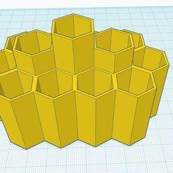 ttt.JPG Télécharger fichier STL Stylo/crayon/organisateur de bureau V4 moderne Peigne à miel • Objet pour impression 3D, Aboutexodma