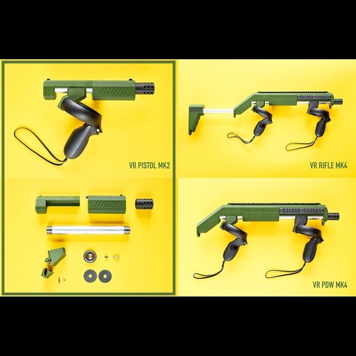 gunstock_collage_selection.jpg Download free STL file PISTOL VR magnetic gunstock Oculus Rift-S Quest • 3D printer template, danielschweinert