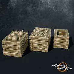 crates.jpg Download free STL file Crates with fruit and vegetables • 3D printer model, The-Printing-Goes-Ever-On