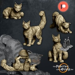 cats-five.jpg Download STL file House Cats - Presupported - 5 poses • 3D printable template, The-Printing-Goes-Ever-On