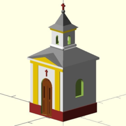 chapel.png Download SCAD file MiniRailway Village Chapel (customizable) • 3D printable object, wsvenny