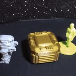 robot and table.png Télécharger fichier STL Futuristic Tech Table (accessoire terrien miniature de 28 mm pour les jeux de science-fiction) • Design imprimable en 3D, davewoodrum
