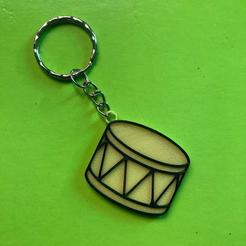 Tambor 1.jpeg Download STL file Drum key ring • 3D printable template, AlbertoBacaIBIO